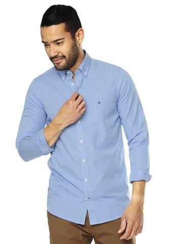 Camisa Azul Rey-Blanca Tommy Hilfiger